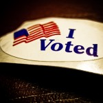 """I voted"" sticker with American flag"