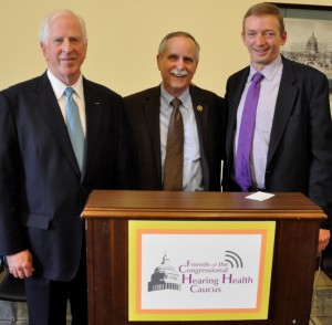 Rep. Mike Thompson, Rep. David McKinley, and Andy Bopp, HIA, at the Friends of the Congressional Hearing Health Caucus reception