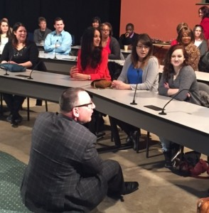 Steve Zinone addresses court reporting and captioning students at Cuyahoga Community College.