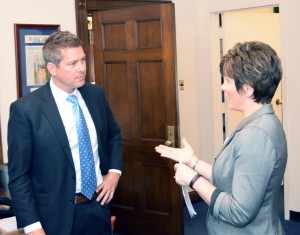 NCRA Vice President Chris Willette discusses the Training for Realtime Writers grants with Rep. Sean Duffy (Wis.)