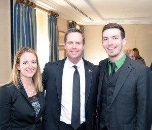 Rep. Rodney Davis with Georgia Rollins and Isaiah Roberts at the reception following the NCRA Legislative Boot Camp