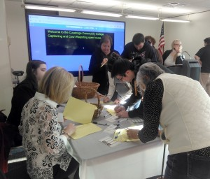 Signing in at the Tri-C open house