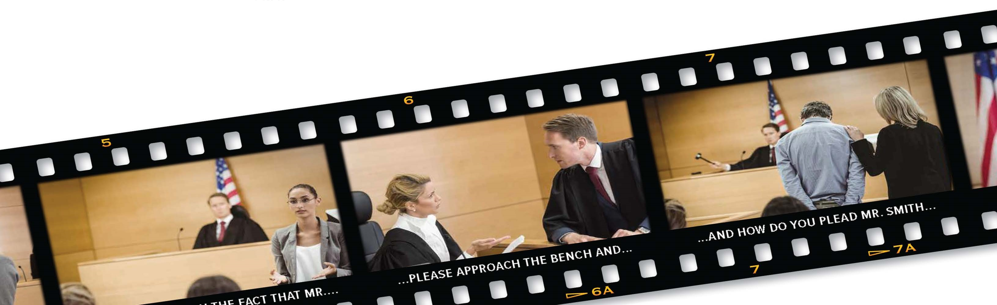 Film strip of court scenes with excerpts from the transcript at the bottom as captions.