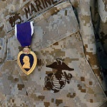 Purple Heart Medal pinned to a U.S. Marines uniform