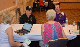 John Domina and Ken Laforge are interviewed by NCRF Chair Nancy Hopp as Donna Urlaub transcribes