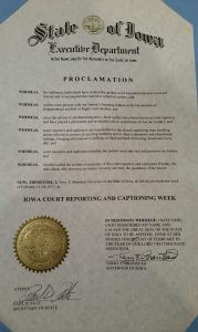 Proclamation for Court Reporting & Captioning Week in Iowa