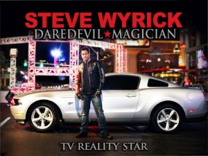 Photo of Steve Wyrick (daredevil * magician * TV reality star) in front of a sports car