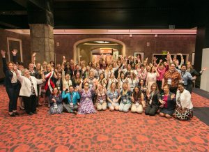 Group photo of students and the NCRA Board of Directors posed with enthusiasm