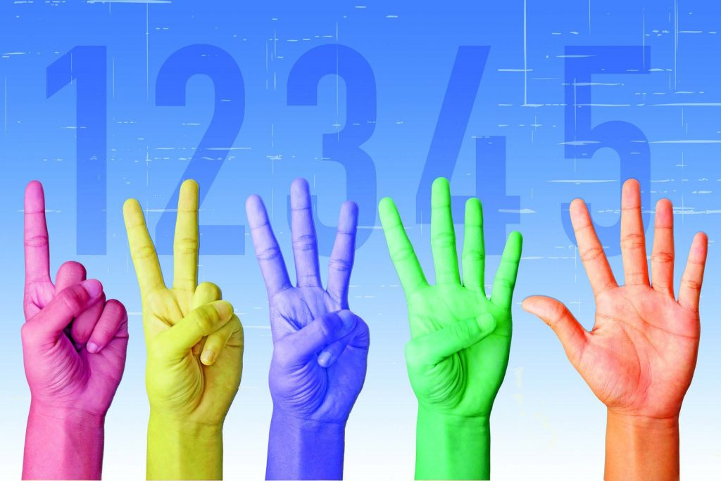 Five hands counting up 1 to 5 with fingers -- each hand is in a different color (pink, yellow, purple, green, and skin tone)