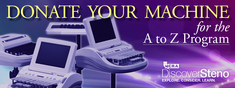 """Donate your machine for the A to Z Program"" -- Four different models of steno machines"