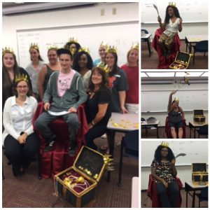 Collage of photos: In one, a groupd photo of people standing around a chair covered in red velvet cloth (one person is sitting in the chair); everyone is wearing gold plastic crowns and there is an open treasure chest. Along the side are three individual photos of smiling students sitting in the red velvet chair next to the treasure chest and holding a plastic sword or a ribbon streamer.