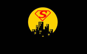 A red S in a superhero emblem hovers within a yellow circle, similar to a full moon, over the black outline of a city.